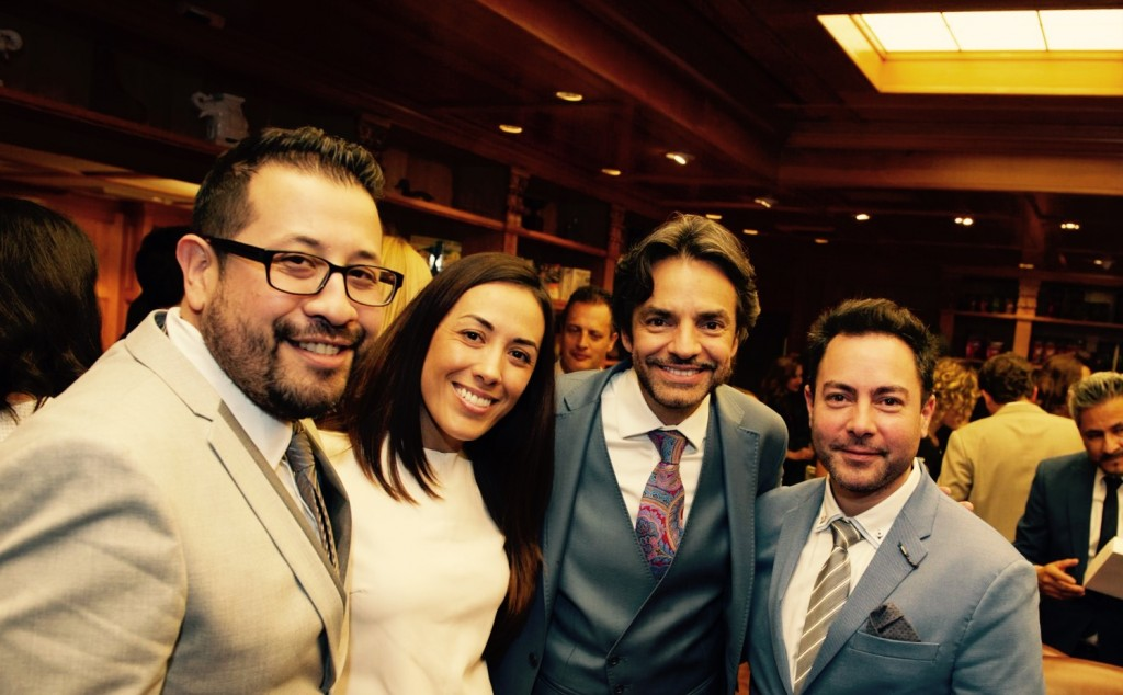Crossover Entertainment Team CEO George Salinas, Carolina Aymerich and Jaime Aymerich with Latin Star Eugenio Derbez